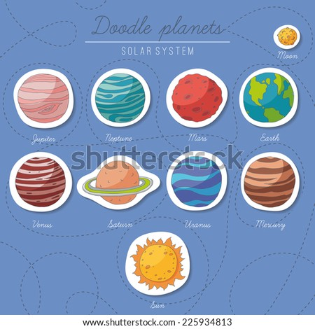 Set of doodle planet stickers. EPS 10. No transparency. No gradients. - stock vector
