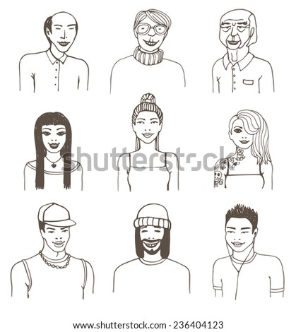 Set of doodle portraits. Vector eps8 illustration. - stock vector