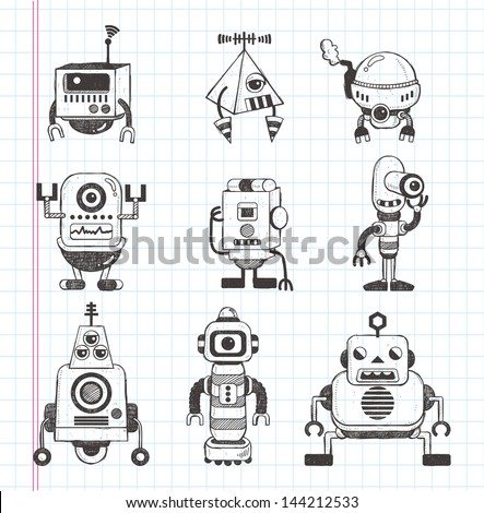 set of doodle robot icons, illustrator line tools drawing - stock vector