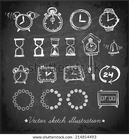 Set of doodle sketch watches on blackboard. Alarm clocks, sand glasses, stop-watch and other symbols of time. Hand-drawn with ink. Vector illustration. - stock vector