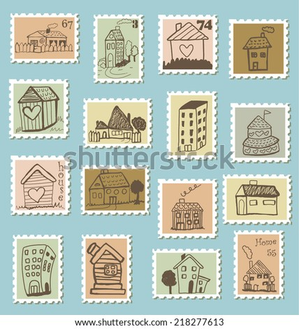 Set of doodled house stamps - stock vector