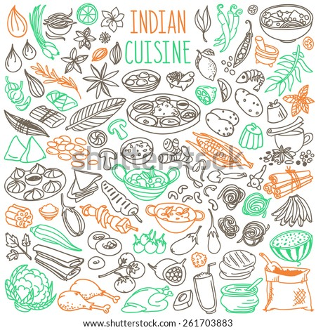 Set of doodles, hand drawn rough simple Indian cuisine food sketches. Different kinds of main dishes, desserts, beverages. Vector set isolated on white background for cafe menu, fliers, chalkboards - stock vector