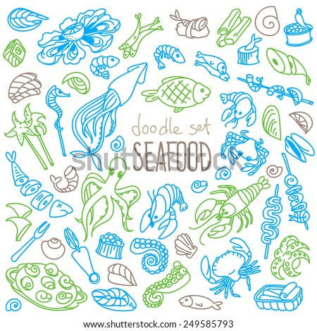 Set of doodles, hand drawn rough simple seafood theme sketches. Vector set isolated on white background. - stock vector