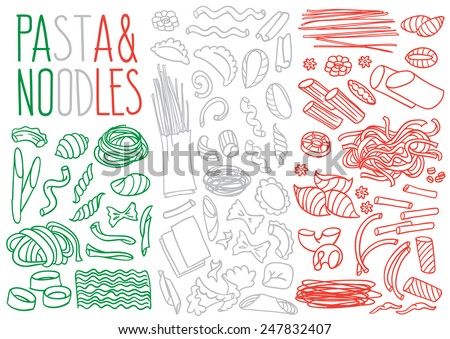 Set of doodles, hand drawn rough simple sketches various kinds of pasta and noodles. Vector isolated on white background for cafe menu, fliers, chalkboard - stock vector