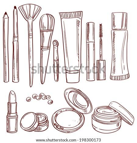 Set of doodles on cosmetics pencil, brush, blush, lipstick, mascara - stock vector