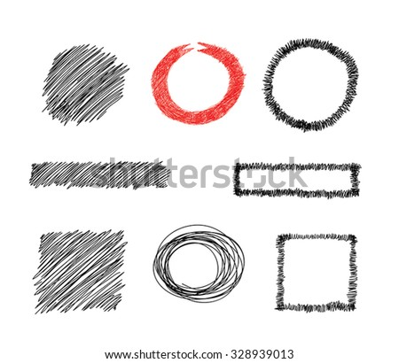 Set of doodles sketchy frames and backgrounds - Hand drawn vector clip art collection. Graphic circle and square frames, ribbons. Back to School concept. Graphic design elements. Eps 10. - stock vector