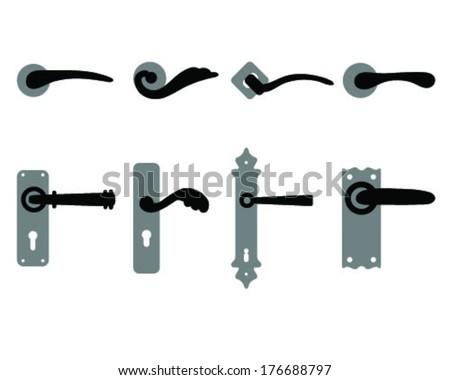 Set of door knobs and door handles, vector  - stock vector