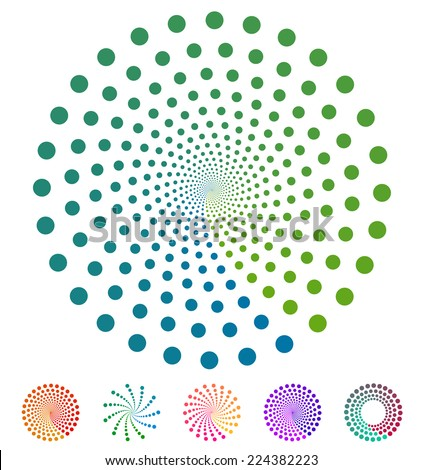 Set of Dotted elements with blending colors on white background - stock vector