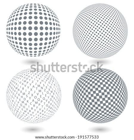 Set of dotted spheres - stock vector