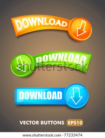 Set of download buttons for web - stock vector