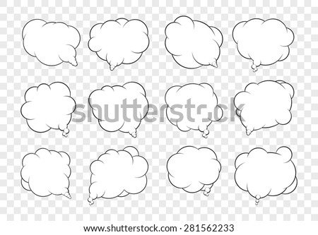 Set of dozen vector talking bubbles with white fills and transparent background. - stock vector