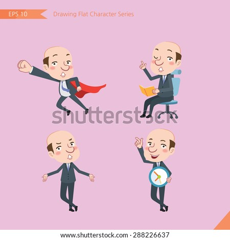 Set of drawing flat character style, business concept bald boss activities - business hero, Question,  time management, Knowledge - stock vector