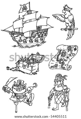 Set of drawing pirates - stock vector