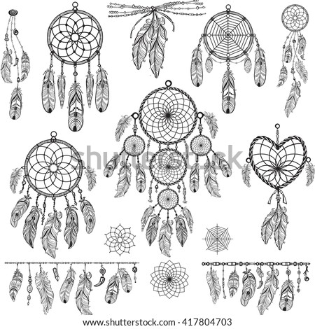 Set of Dreamcatchers. Design elements in Boho style. Lineart. Native style. Tattoo design. Pattern for coloring book. Print for T-shirt. - stock vector