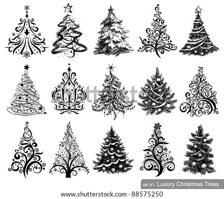 Set of Dreawn Christmas Trees. 15 designs in one file. To see similar sets visit my gallery - stock vector
