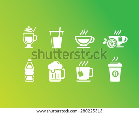 Set of Drinks and Beverages Icons - stock vector