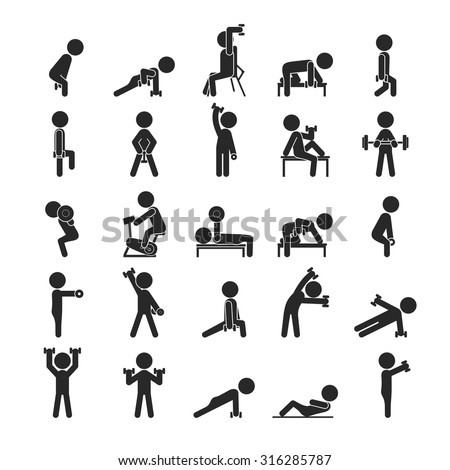 Set of dumbbell exercises character , Human pictogram Icons , eps10 vector format - stock vector