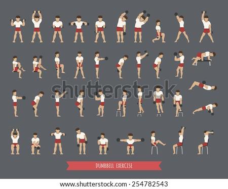 Set of dumbbell exercises, eps10 vector format - stock vector