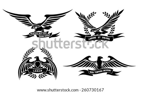 Set of eagle heraldic labels with laurel wreaths, shields and ribbons. Symbol and bird, element and wing, logo and sign, tattoo. Vector illustration - stock vector