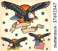 Set of Eagle Retro Tattoo's - stock vector