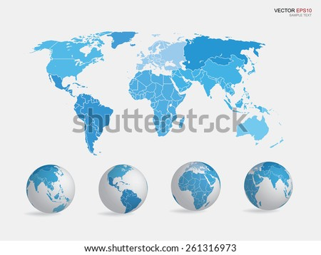 Set of earth globe icon and world map. Vector illustration. - stock vector