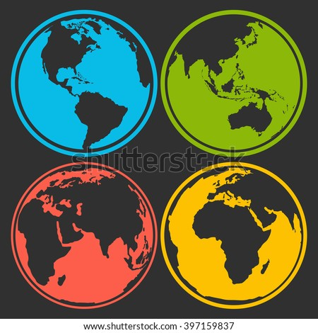 Set of earth planet globe logo icons for web and app. Vector travel, earth planet concept on black background - stock vector