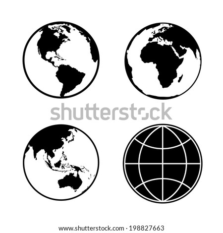 Set of earth planet globe web and mobile icons. Vector. - stock vector