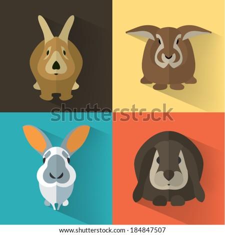 Set of Easter Bunnies / Animal Portrait / Flat design / Vector illustration - stock vector