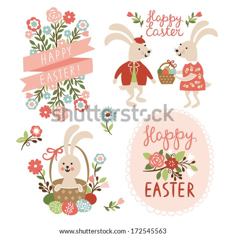 Set of Easter cards illustrations  - stock vector