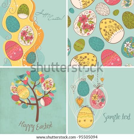 Set of Easter egg backgrounds - stock vector