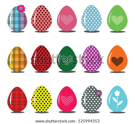Set of Easter egg icons - stock vector