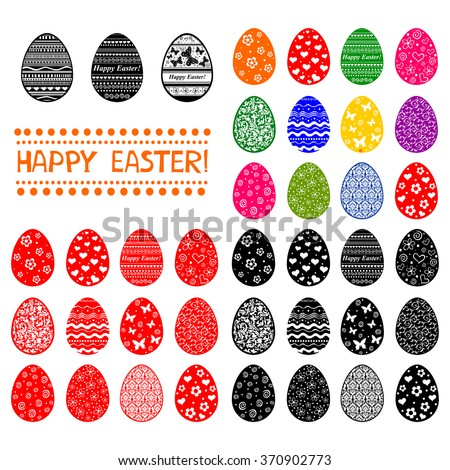 Set of Easter Eggs isolated on White background. Pattern in a shape of an egg. Vector Illustration - stock vector