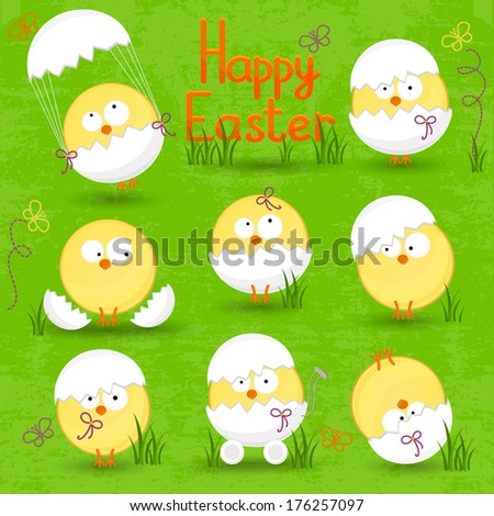 set of Easter eggs on a green background - stock vector
