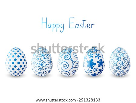 Set of Easter eggs with blue patterns - stock vector