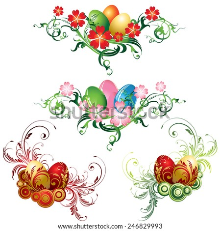 Set of easter eggs with floral pattern - stock vector