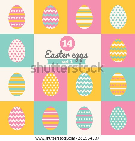 Set of Easter eggs with Stripes, Polka Dot and Chevron Patterns in Pink, Yellow, Blue and White. Perfect for greeting cards, invitations. Vector illustration in flat design - stock vector