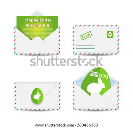 Set of Easter envelopes with paper green eggs isolated on white background. Vector illustration. - stock vector