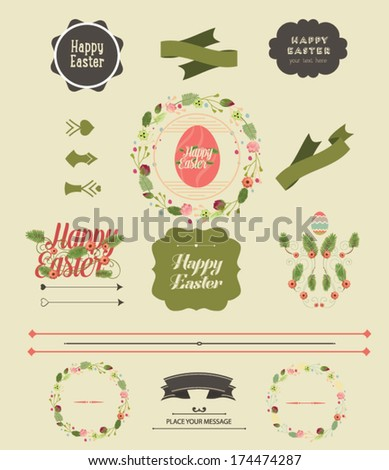 Set of Easter ornaments and decorative elements, vintage banner, ribbon, labels, frames, badge, stickers. Vector Easter element.  - stock vector