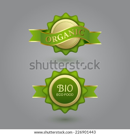 Set of eco badge and label - stock vector