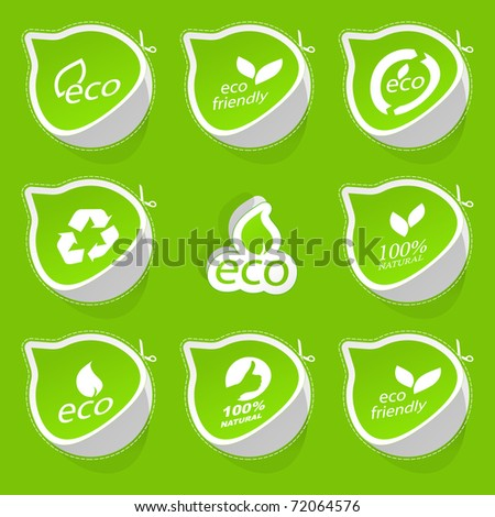 Set of eco friendly stickers. - stock vector