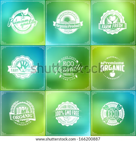 Set of eco green labels of healthy organic natural fresh farm food on bright blur glass background - stock vector