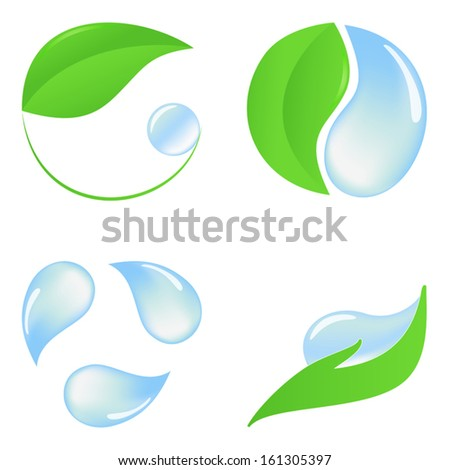 Set of eco icons with green leaves and pure water - stock vector