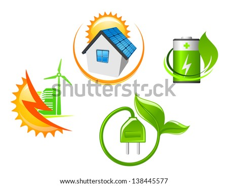 Set of ecological icons for environment design in glossy style or logo template. Jpeg (bitmap) version also available in gallery - stock vector