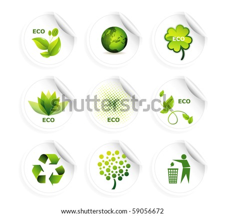 Set of ecology icons eps10 - stock vector