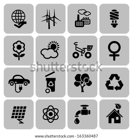 Set of ecology icons in flat design, vector illustration - stock vector