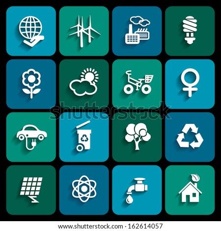 Set of ecology icons in white color with shadow - stock vector