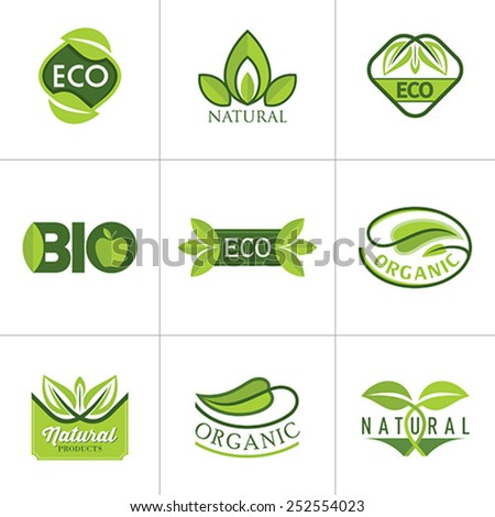 Set of ecology icons with green leaves in vector - stock vector