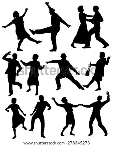 Set of editable vector silhouettes of elderly couples dancing together with all figures as separate objects - stock vector