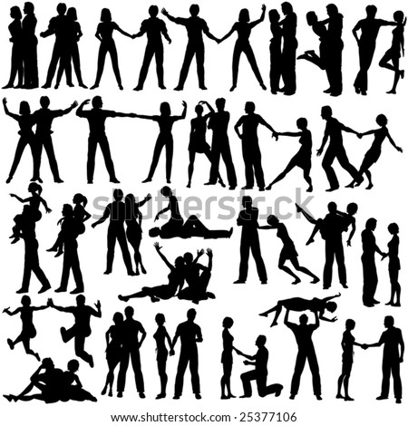 Set of editable vector silhouettes of man and woman couples with every figure as a separate object - stock vector