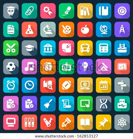 set of education and school flat icons, colorful - stock vector